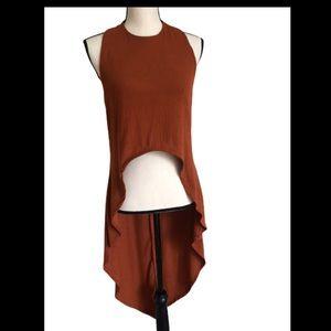 Jasmine Sportswear brown High Low top Size L